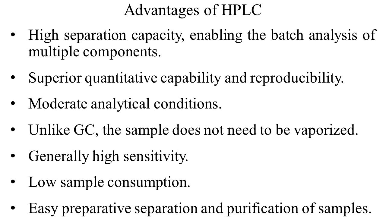 Advantages of HPLC High separation capacity, enabling the batch analysis of multiple components.