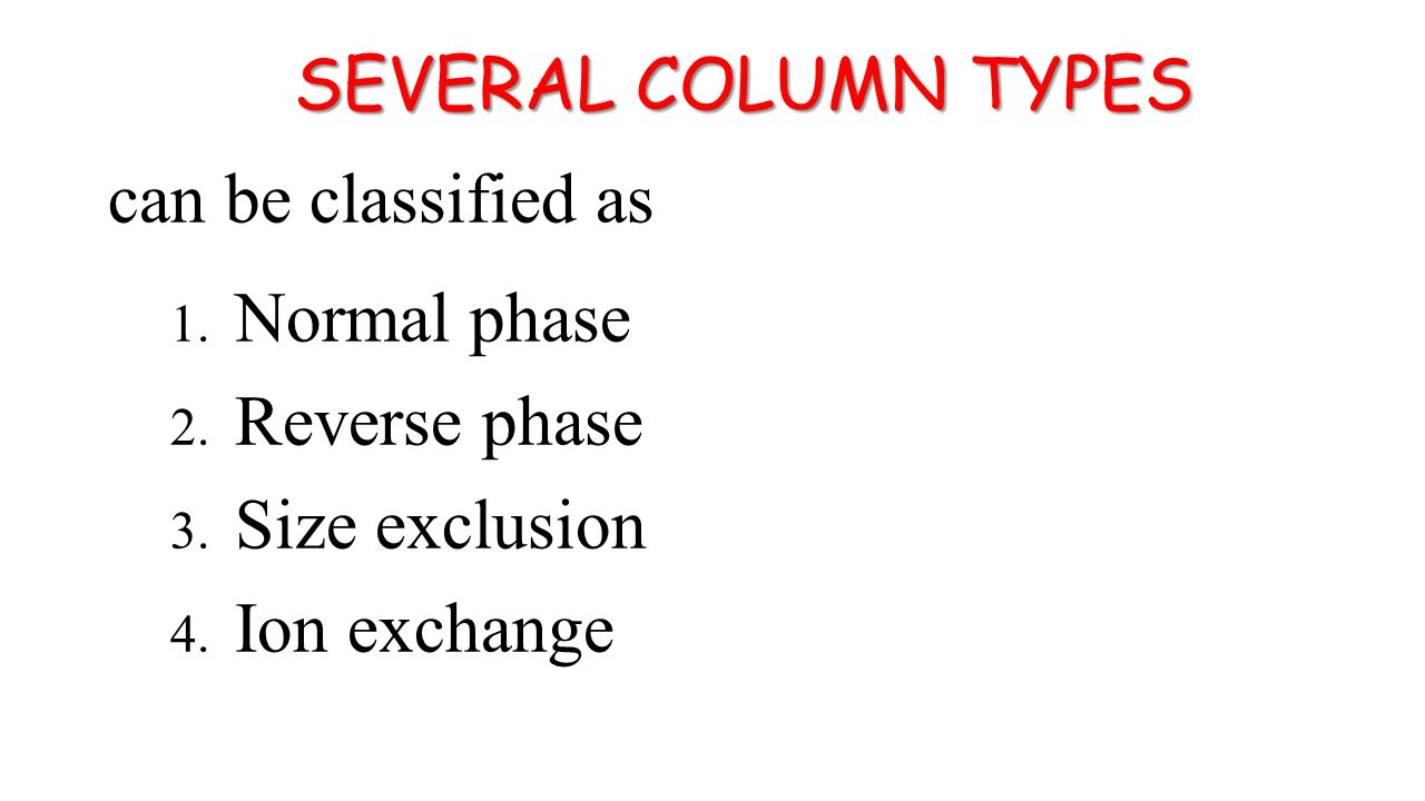 SEVERAL COLUMN TYPES can be classified as 1. Normal phase 2.
