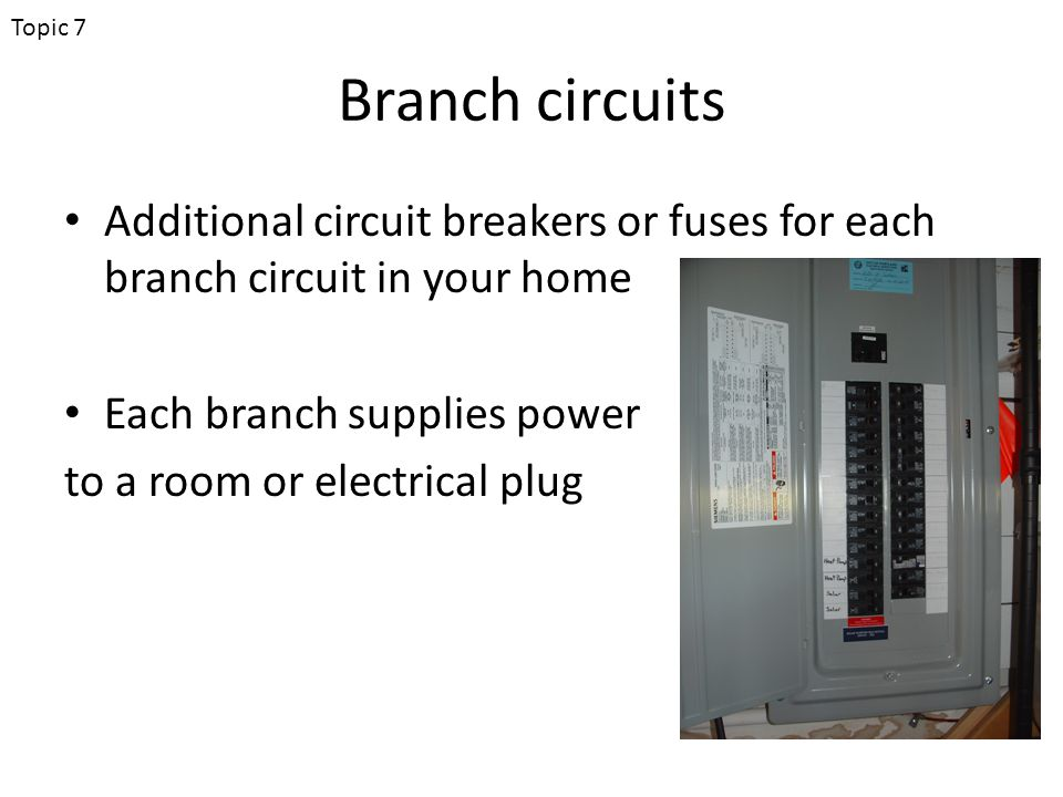 Branch circuits Additional circuit breakers or fuses for each branch circuit in your home Each branch supplies power to a room or electrical plug Topic 7
