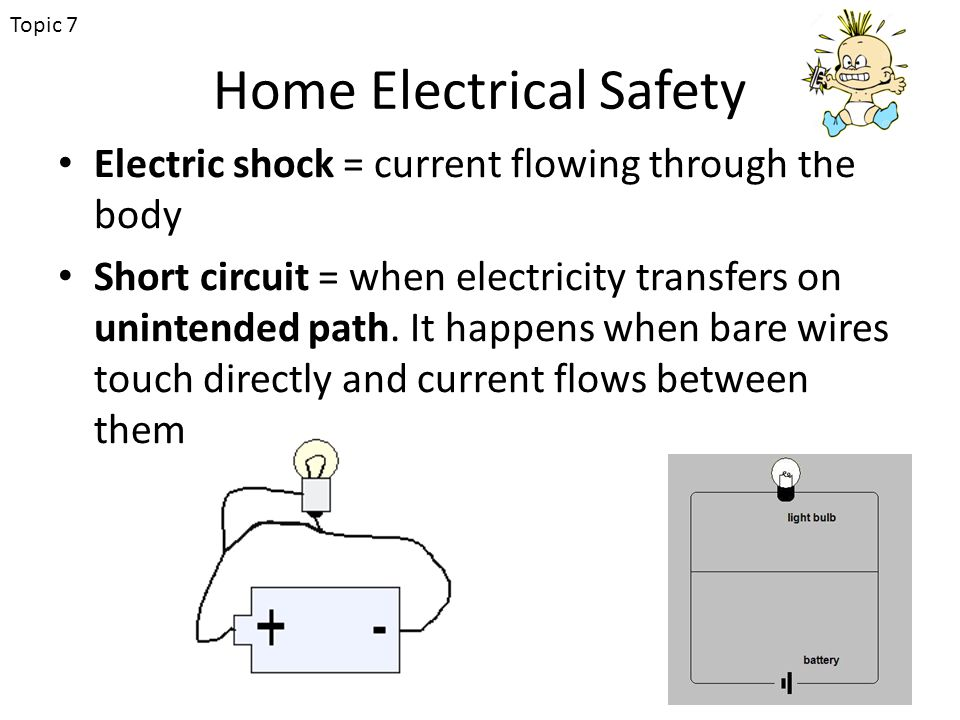 Home Electrical Safety Electric shock = current flowing through the body Short circuit = when electricity transfers on unintended path.