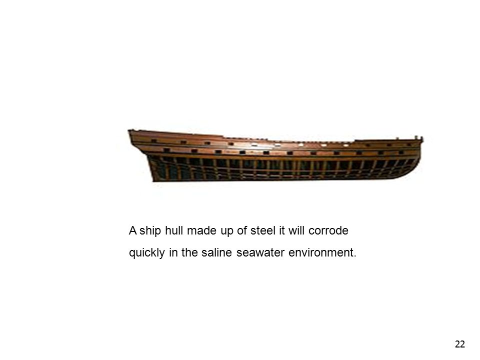 22 A ship hull made up of steel it will corrode quickly in the saline seawater environment.