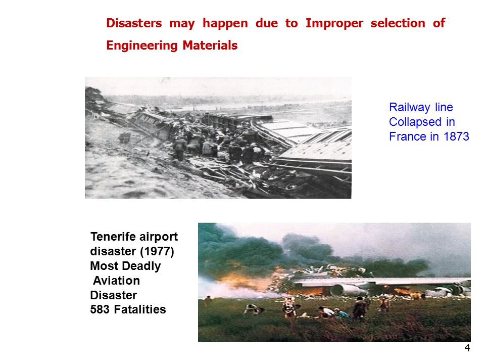 Railway line Collapsed in France in 1873 Tenerife airport disaster (1977) Most Deadly Aviation Disaster 583 Fatalities Disasters may happen due to Improper selection of Engineering Materials 4