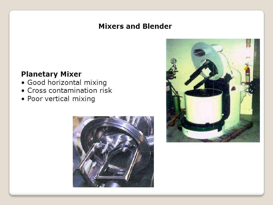 Mixers and Blender Planetary Mixer Good horizontal mixing Cross contamination risk Poor vertical mixing