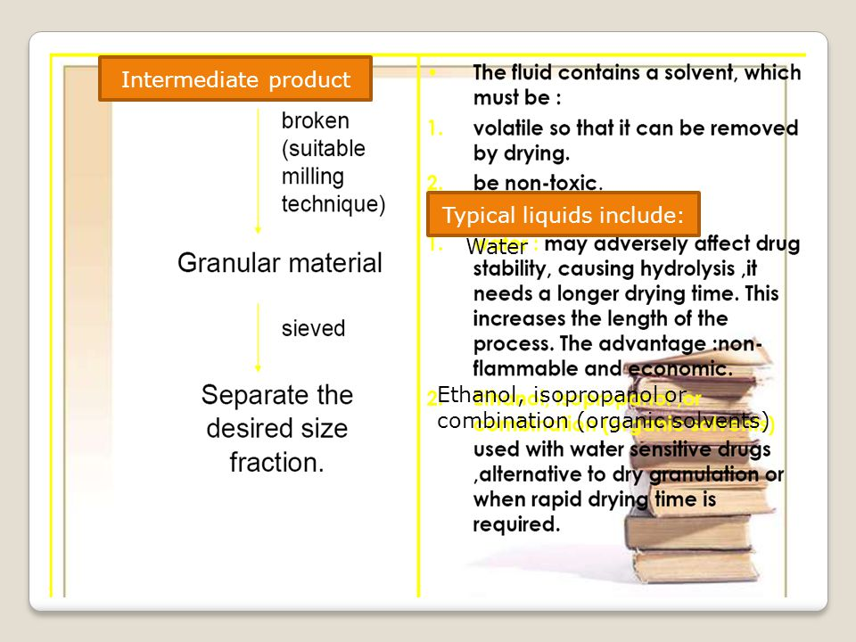 Intermediate product Typical liquids include: Water Ethanol, isopropanol or combination (organic solvents)