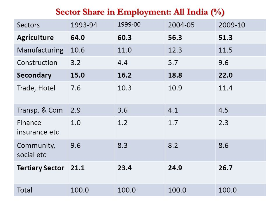 Sector Share in Employment: All India (%) Sectors1993-94 1999-00 2004-052009-10 Agriculture64.060.356.351.3 Manufacturing10.611.012.311.5 Construction3.24.45.79.6 Secondary15.016.218.822.0 Trade, Hotel7.610.310.911.4 Transp.