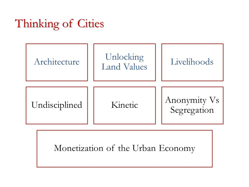 Thinking of Cities Architecture Unlocking Land Values Livelihoods UndisciplinedKinetic Anonymity Vs Segregation Monetization of the Urban Economy