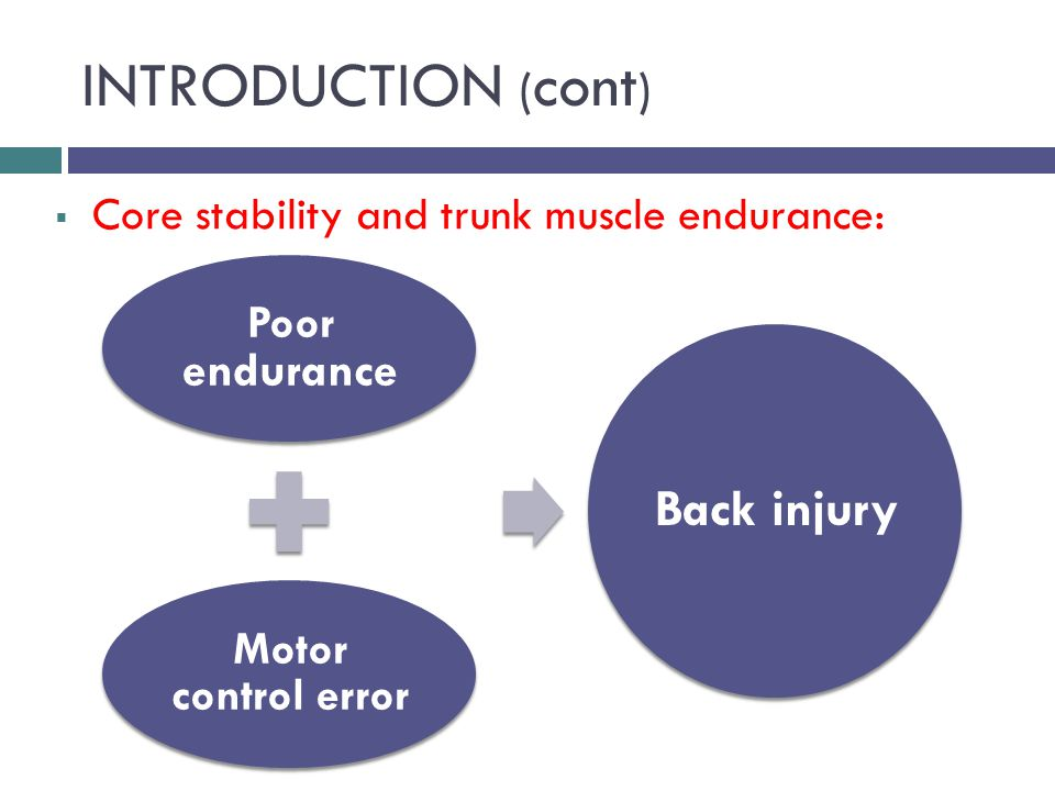 INTRODUCTION ( cont )  Core stability and trunk muscle endurance: Poor endurance Motor control error Back injury