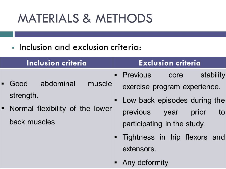 MATERIALS & METHODS  Inclusion and exclusion criteria: Inclusion criteriaExclusion criteria  Good abdominal muscle strength.