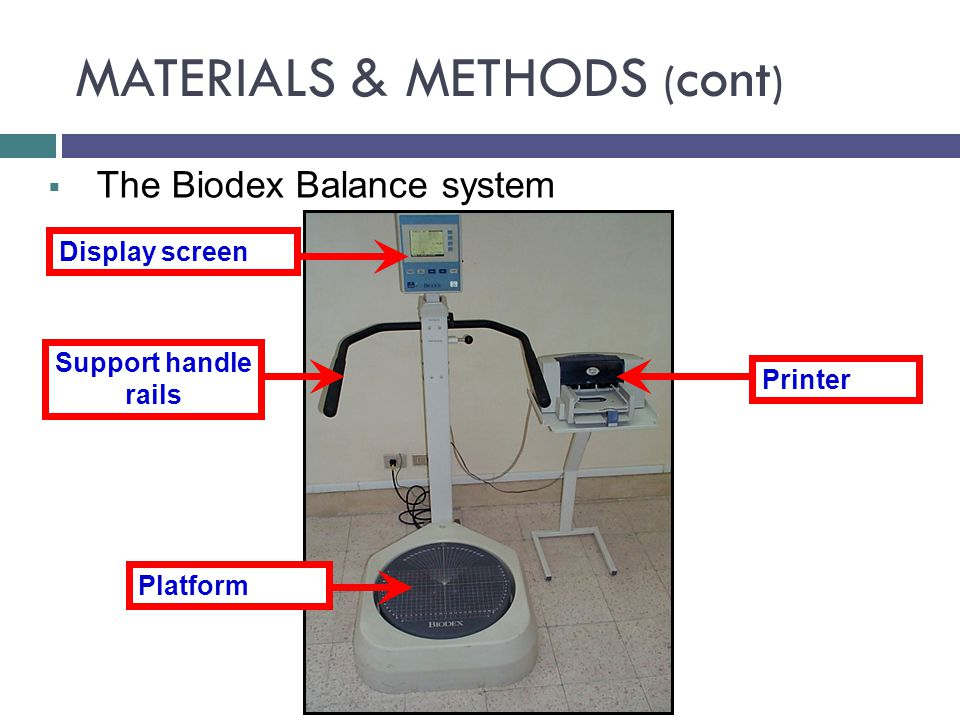 Display screen Support handle rails  The Biodex Balance system Platform Printer MATERIALS & METHODS ( cont )