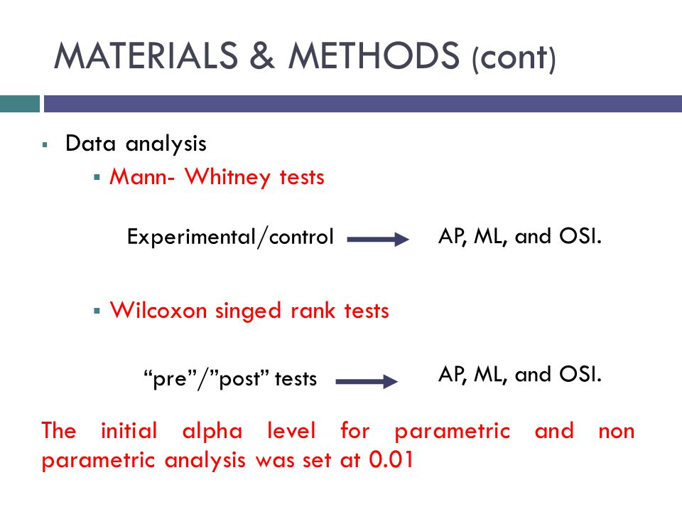 MATERIALS & METHODS ( cont )  Data analysis  Mann- Whitney tests  Wilcoxon singed rank tests The initial alpha level for parametric and non parametric analysis was set at 0.01 AP, ML, and OSI.