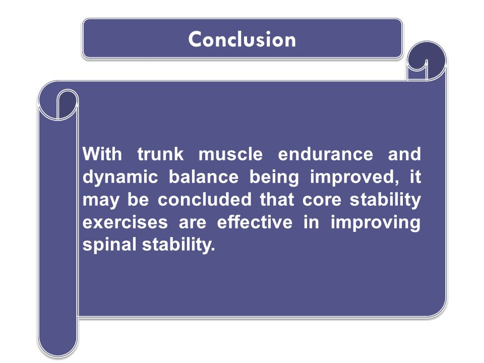 With trunk muscle endurance and dynamic balance being improved, it may be concluded that core stability exercises are effective in improving spinal stability.