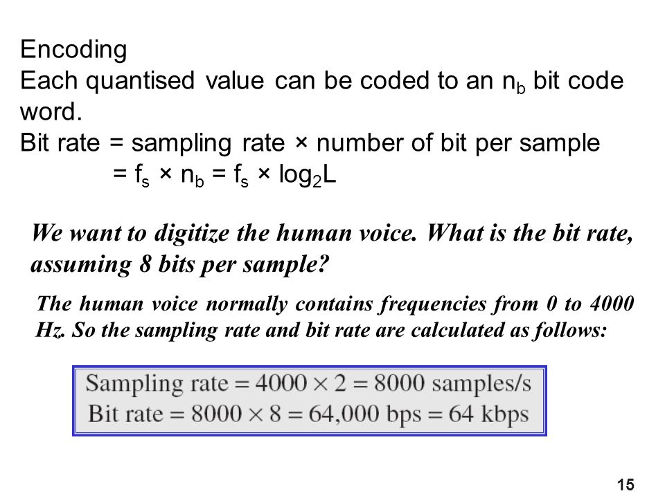 15 Encoding Each quantised value can be coded to an n b bit code word. Bit rate = sampling rate × number of bit per sample = f s × n b = f s × log 2 L