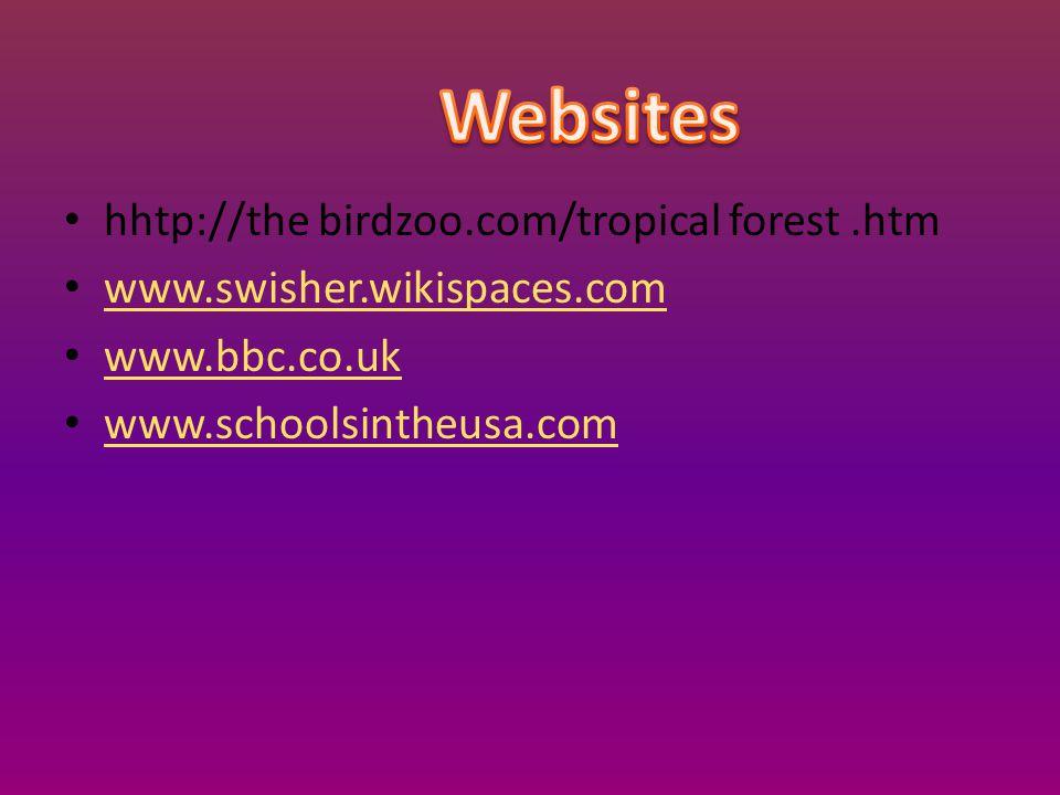 hhtp://the birdzoo.com/tropical forest.htm www.swisher.wikispaces.com www.bbc.co.uk www.schoolsintheusa.com