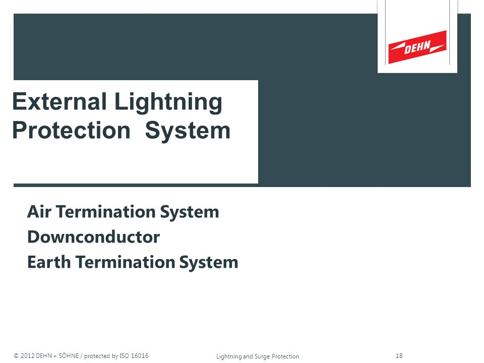 © 2012 DEHN + SÖHNE / protected by ISO 16016 Lightning and Surge Protection Class I Protection Against Direct Lightning Currents (Lightning Current Ar
