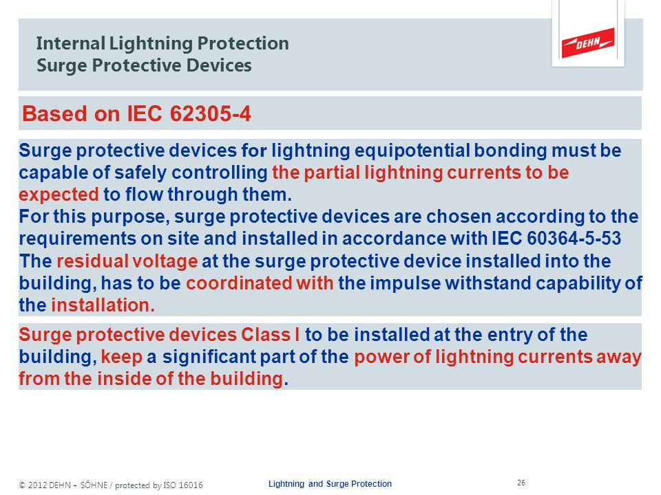 © 2012 DEHN + SÖHNE / protected by ISO 16016 Lightning current arrester Lightning and Surge Protection 25