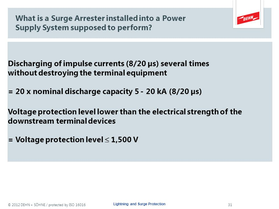 © 2012 DEHN + SÖHNE / protected by ISO 16016 Surge Protection Lightning and Surge Protection 30