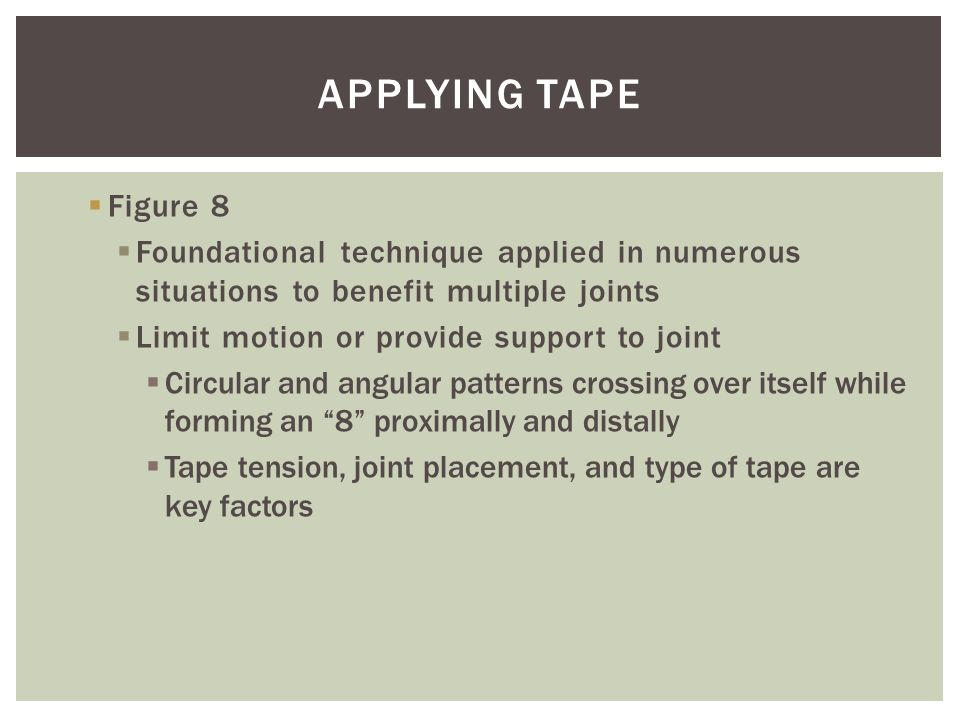  Figure 8  Foundational technique applied in numerous situations to benefit multiple joints  Limit motion or provide support to joint  Circular an