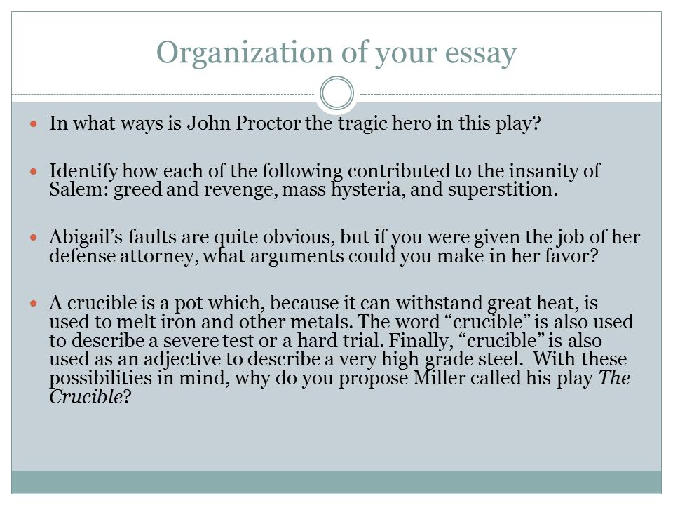 Organization of your essay In what ways is John Proctor the tragic hero in this play? Identify how each of the following contributed to the insanity o