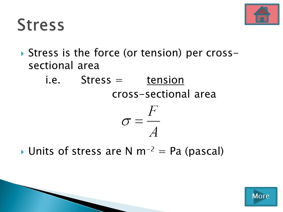  Stress is the force (or tension) per cross- sectional area i.e. Stress = tension cross-sectional area  Units of stress are N m -2 = Pa (pascal) Mor