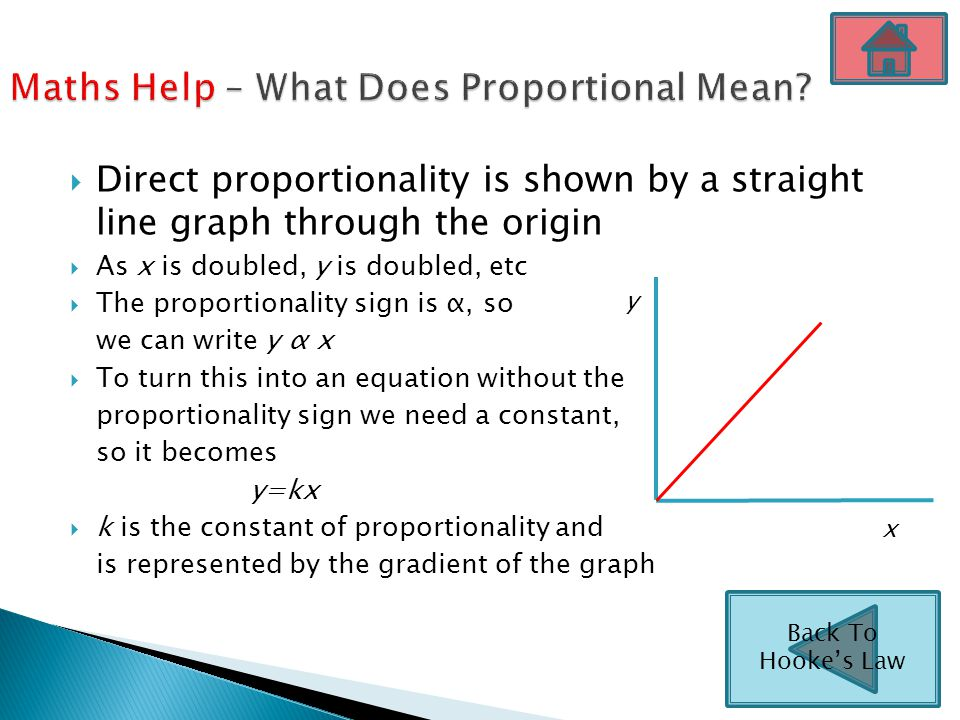  Direct proportionality is shown by a straight line graph through the origin  As x is doubled, y is doubled, etc  The proportionality sign is α, so