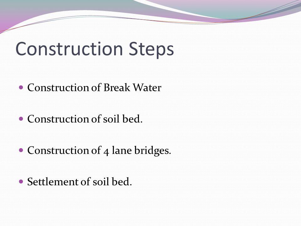 Construction Steps Construction of Break Water Construction of soil bed. Construction of 4 lane bridges. Settlement of soil bed.