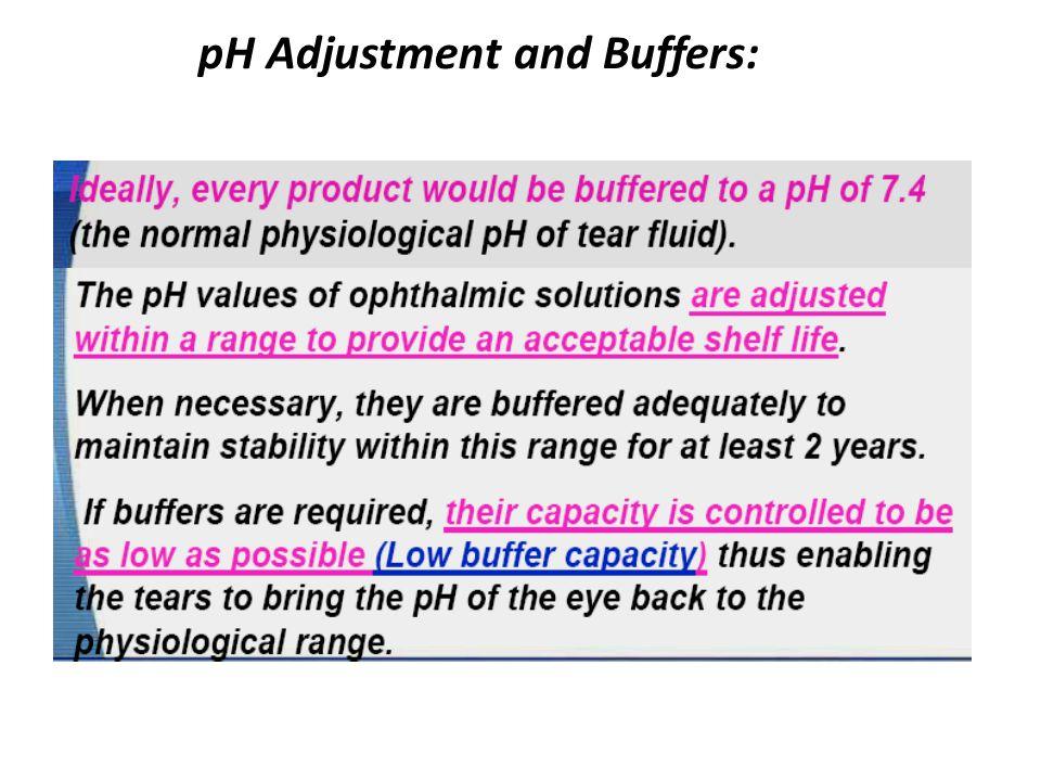 pH Adjustment and Buffers: