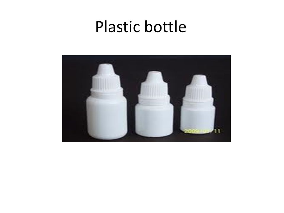 Most commercially prepared eye drops are supplied in plastic dropper bottles The bottles are made from polyethylene or polypropylene & are sterilized by ionizing radiation prior to filling with sterile formulation under aseptic conditions