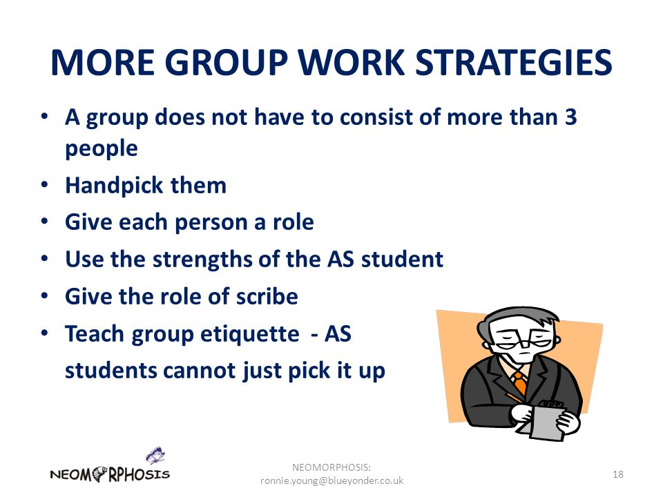MORE GROUP WORK STRATEGIES A group does not have to consist of more than 3 people Handpick them Give each person a role Use the strengths of the AS student Give the role of scribe Teach group etiquette - AS students cannot just pick it up NEOMORPHOSIS: ronnie.young@blueyonder.co.uk 18