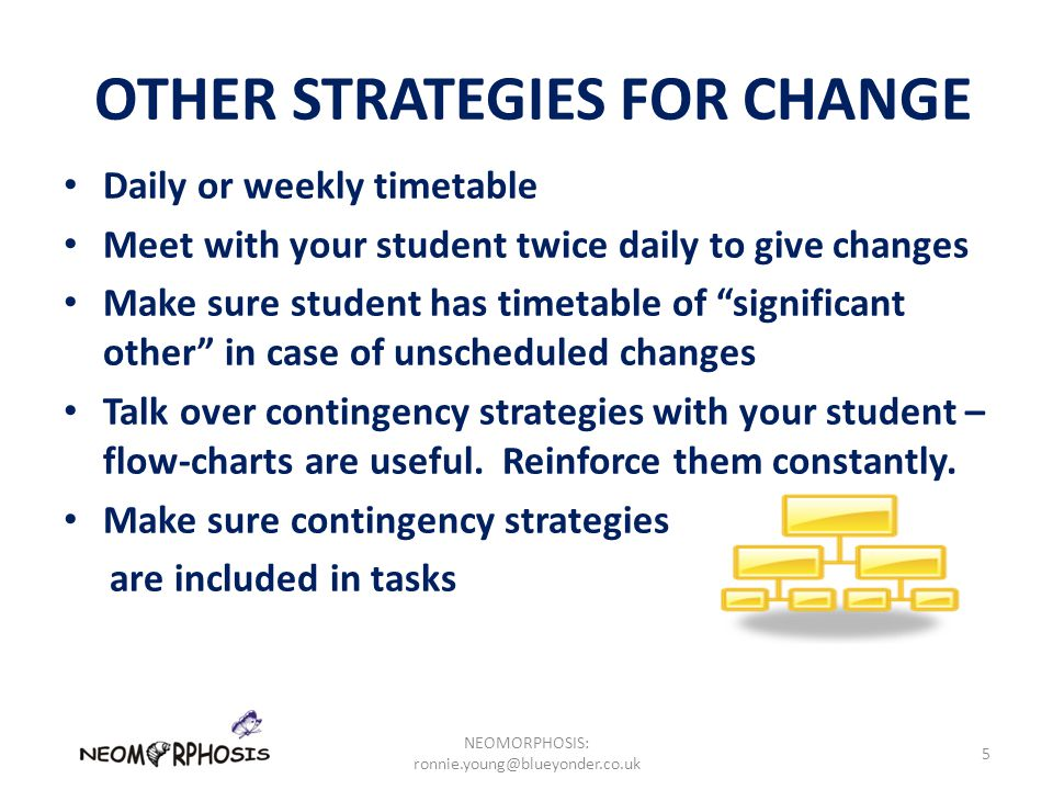 OTHER STRATEGIES FOR CHANGE Daily or weekly timetable Meet with your student twice daily to give changes Make sure student has timetable of significant other in case of unscheduled changes Talk over contingency strategies with your student – flow-charts are useful.