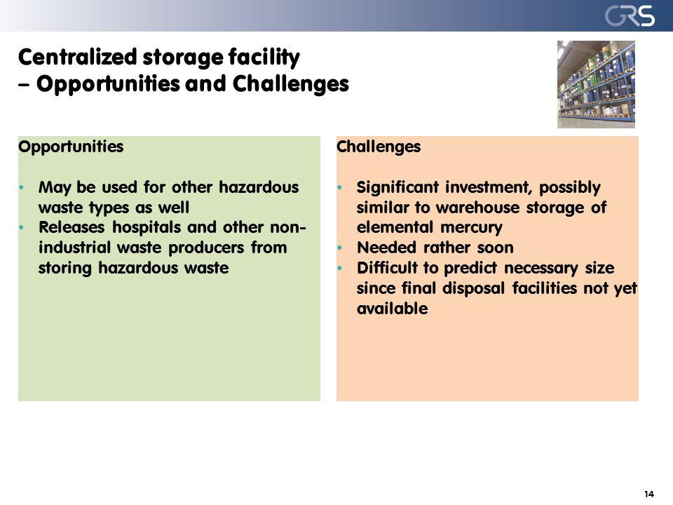 Centralized storage facility – Opportunities and Challenges 14 Opportunities May be used for other hazardous waste types as well Releases hospitals and other non- industrial waste producers from storing hazardous waste Challenges Significant investment, possibly similar to warehouse storage of elemental mercury Needed rather soon Difficult to predict necessary size since final disposal facilities not yet available