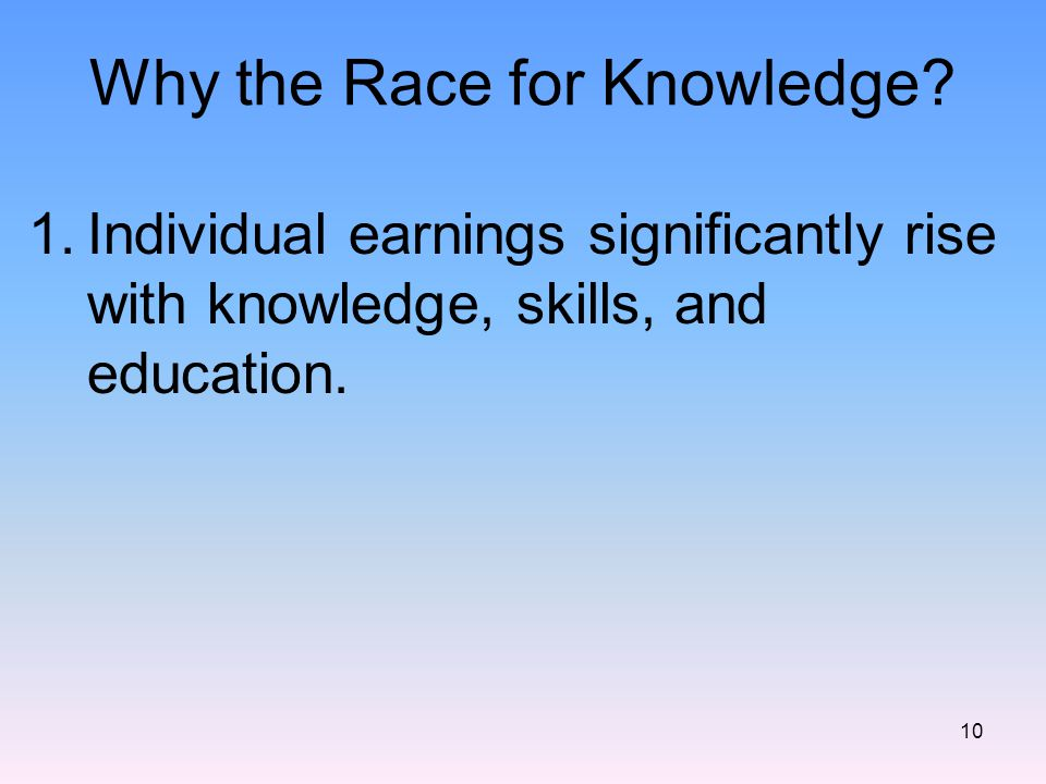 Why the Race for Knowledge.