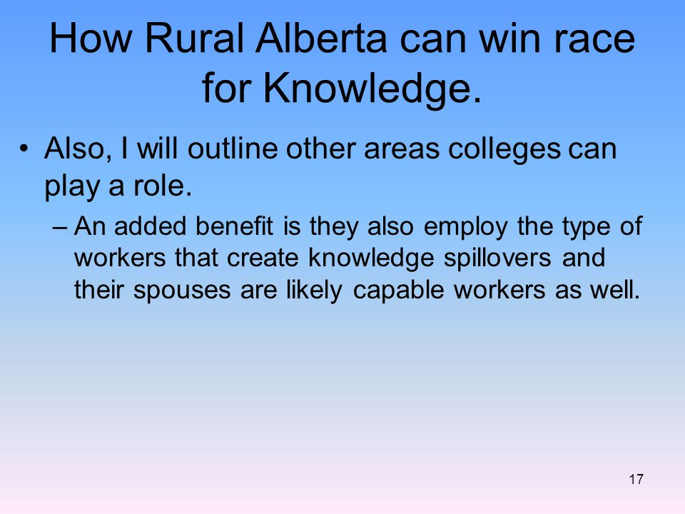 How Rural Alberta can win race for Knowledge.