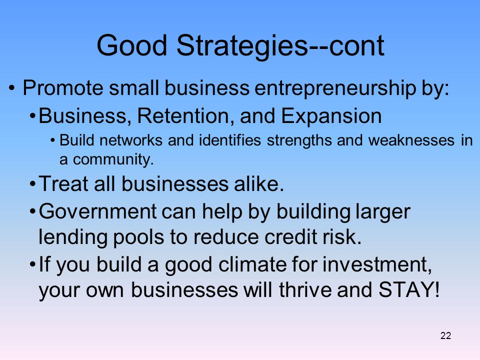 Good Strategies--cont Promote small business entrepreneurship by: Business, Retention, and Expansion Build networks and identifies strengths and weaknesses in a community.