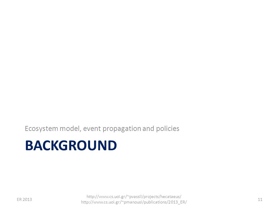 BACKGROUND Ecosystem model, event propagation and policies 11 http://www.cs.uoi.gr/~pvassil/projects/hecataeus/ http://www.cs.uoi.gr/~pmanousi/publica
