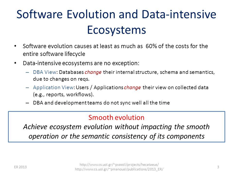 Evolving data-intensive ecosystem 4 http://www.cs.uoi.gr/~pvassil/projects/hecataeus/ http://www.cs.uoi.gr/~pmanousi/publications/2013_ER/ ER 2013