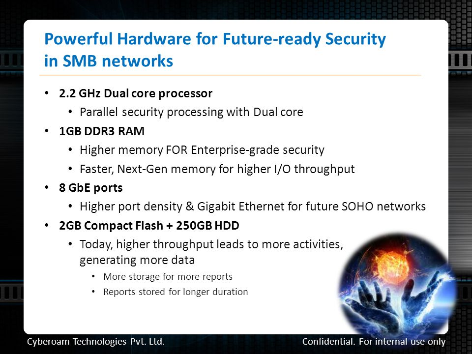 Powerful Hardware for Future-ready Security in SMB networks 2.2 GHz Dual core processor Parallel security processing with Dual core 1GB DDR3 RAM Higher memory FOR Enterprise-grade security Faster, Next-Gen memory for higher I/O throughput 8 GbE ports Higher port density & Gigabit Ethernet for future SOHO networks 2GB Compact Flash + 250GB HDD Today, higher throughput leads to more activities, generating more data More storage for more reports Reports stored for longer duration Confidential.