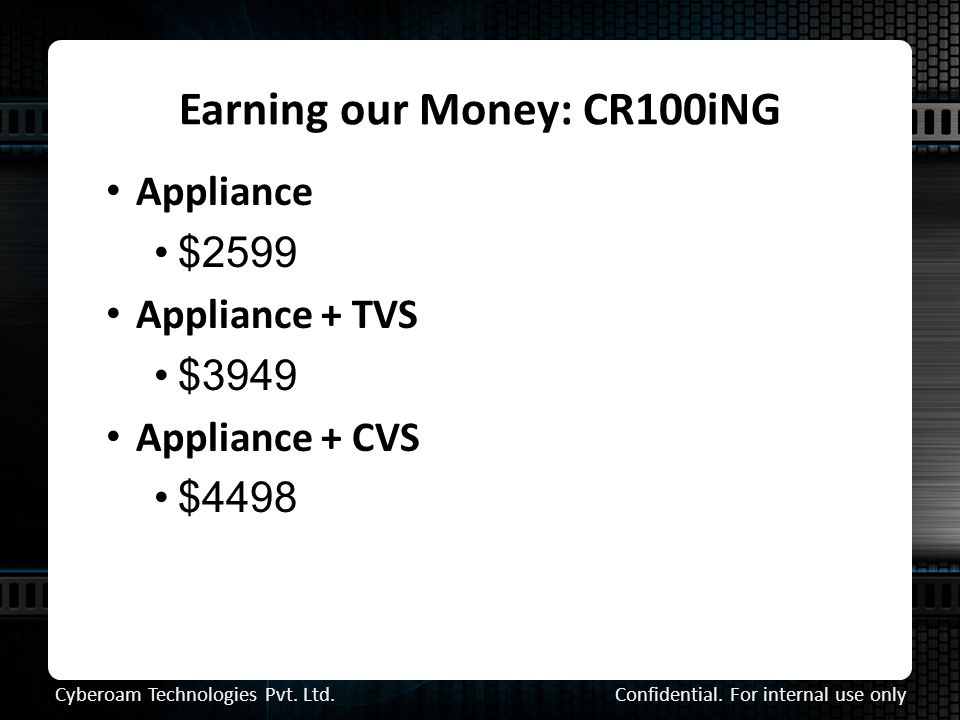 Earning our Money: CR100iNG Confidential. For internal use only Cyberoam Technologies Pvt.