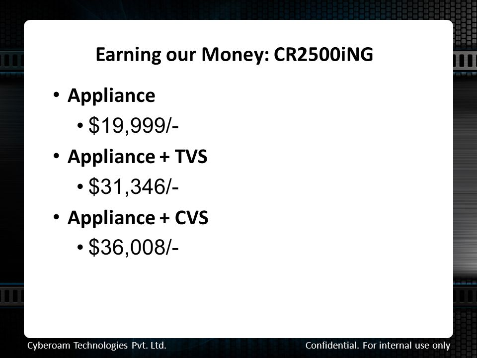 Earning our Money: CR2500iNG Confidential. For internal use only Cyberoam Technologies Pvt.