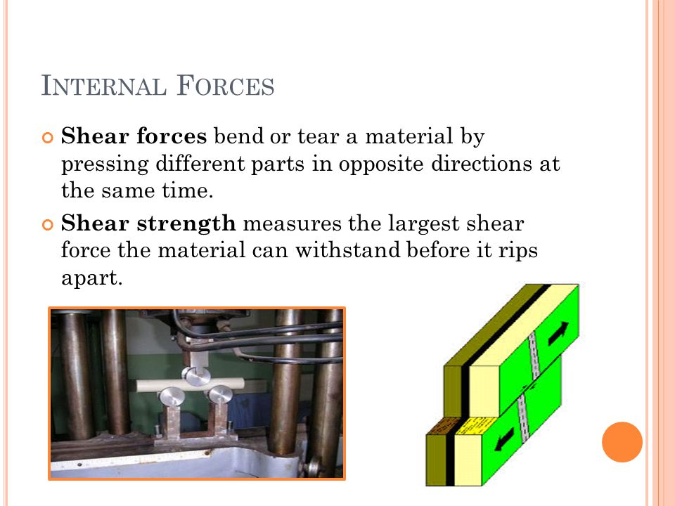 I NTERNAL F ORCES Shear forces bend or tear a material by pressing different parts in opposite directions at the same time.