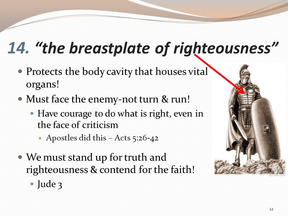14. the breastplate of righteousness Protects the body cavity that houses vital organs.