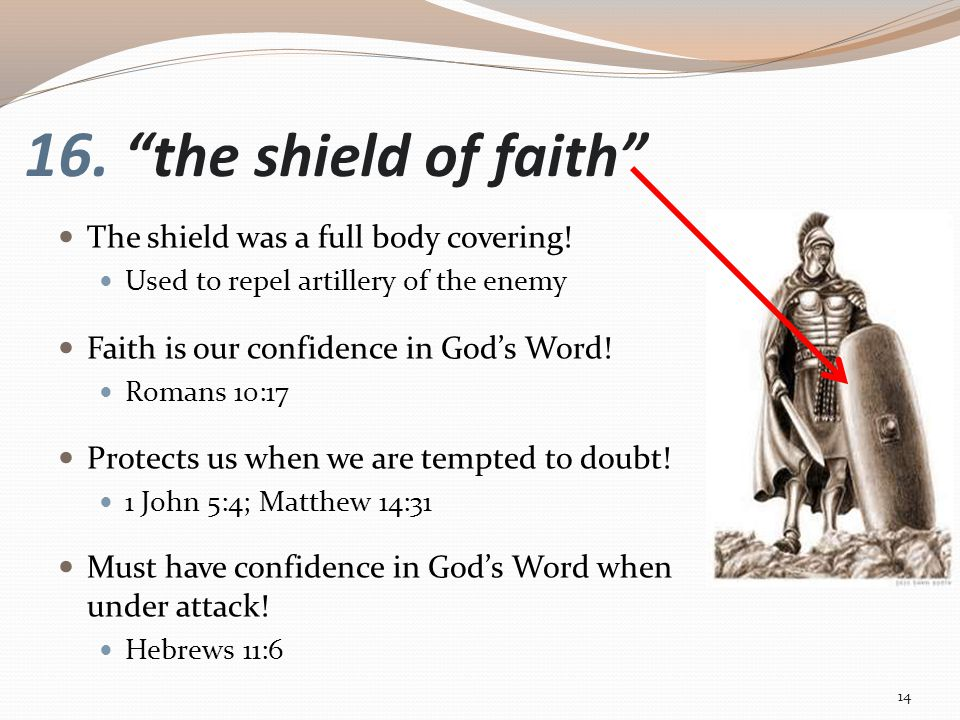 16. the shield of faith The shield was a full body covering.