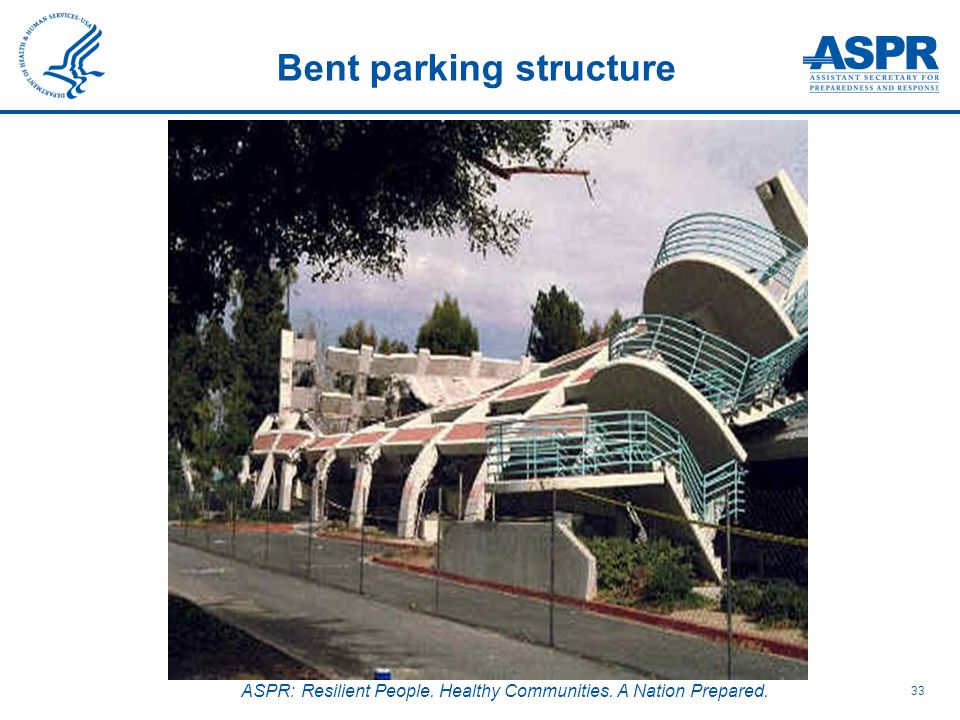 ASPR: Resilient People. Healthy Communities. A Nation Prepared. 33 Bent parking structure