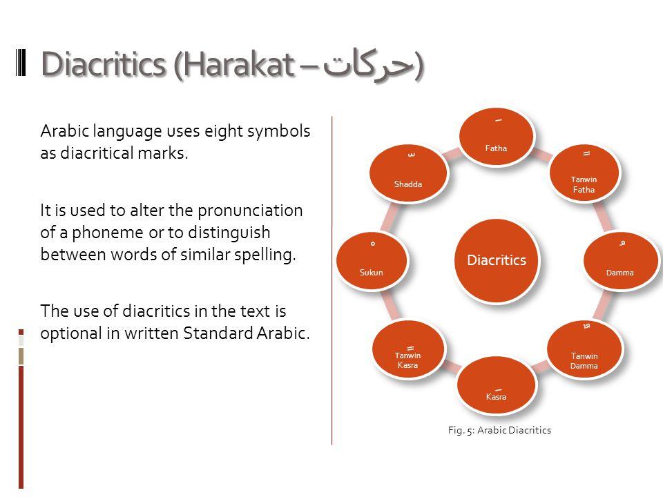 Diacritics (Harakat – حركات ) Arabic language uses eight symbols as diacritical marks.