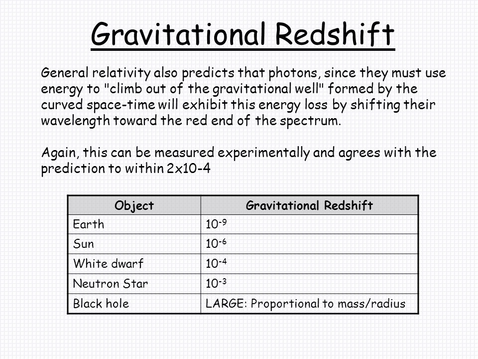 Gravitational Redshift General relativity also predicts that photons, since they must use energy to climb out of the gravitational well formed by the curved space-time will exhibit this energy loss by shifting their wavelength toward the red end of the spectrum.