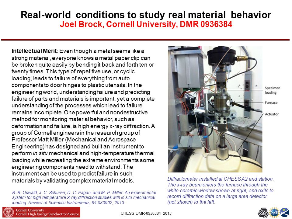 CHESS DMR-0936384 2013 Real-world conditions to study real material behavior Joel Brock, Cornell University, DMR 0936384 Diffractometer installed at CHESS A2 end station.