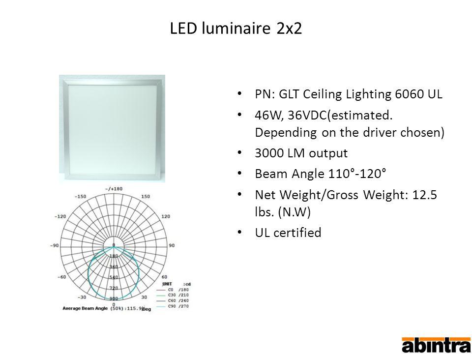 LED luminaire 2x2 PN: GLT Ceiling Lighting 6060 UL 46W, 36VDC(estimated.