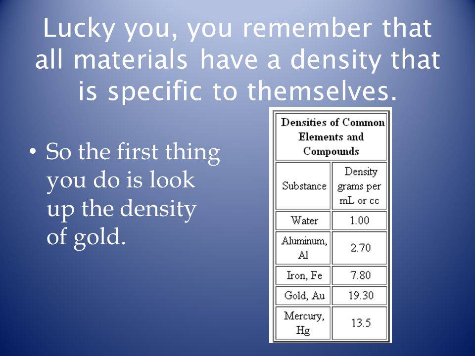 Lucky you, you remember that all materials have a density that is specific to themselves. So the first thing you do is look up the density of gold.