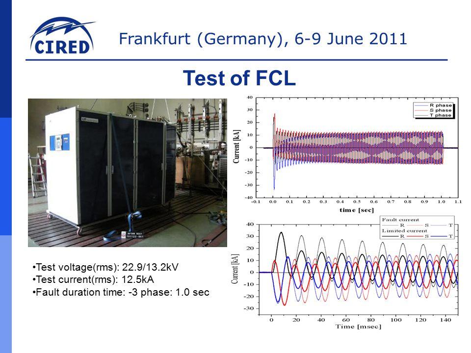 Frankfurt (Germany), 6-9 June 2011 Test of FCL Test voltage(rms): 22.9/13.2kV Test current(rms): 12.5kA Fault duration time: -3 phase: 1.0 sec