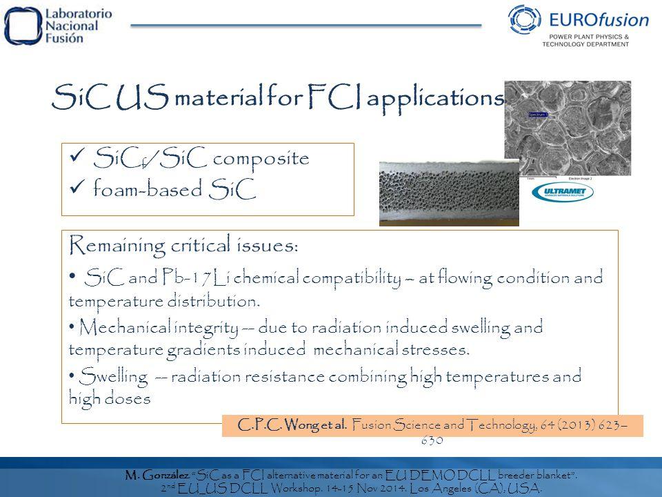 M.González. SiC as a FCI alternative material for an EU DEMO DCLL breeder blanket .