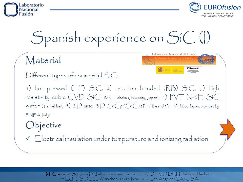 M. González. SiC as a FCI alternative material for an EU DEMO DCLL breeder blanket .
